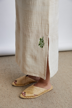 Leafy Long handwoven organic cotton skirt