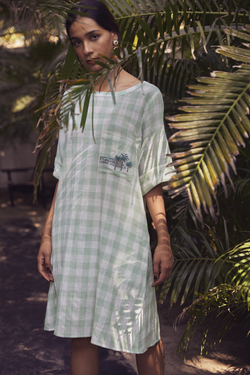 Sui | LERICI hand-embroidered handwoven organic cotton checked shift dress from Granita Summer Collection 2019