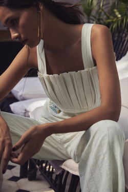 Sui | MARIA hand-embroidered, naturally dyed handwoven organic cotton pleated strappy top from Granita Summer Collection 2019