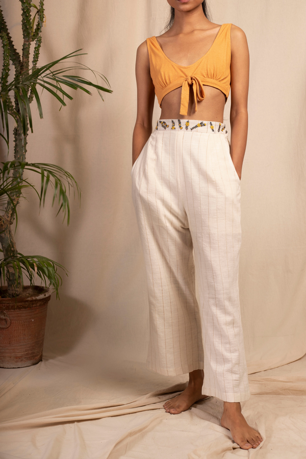 Sui | MARIA naturally dyed organic cotton khadi trousers with hand-embroidered waist-belt from Granita Summer Collection 2019