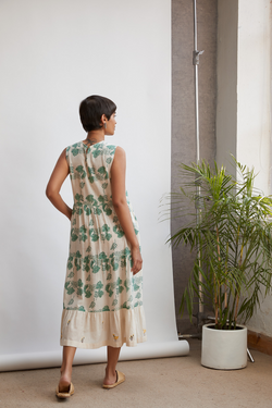 Monstera Maxi handwoven organic cotton dress