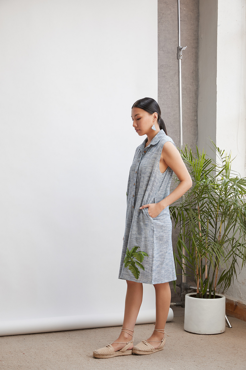 Palm By The Ocean sleeveless handwoven organic cotton dress