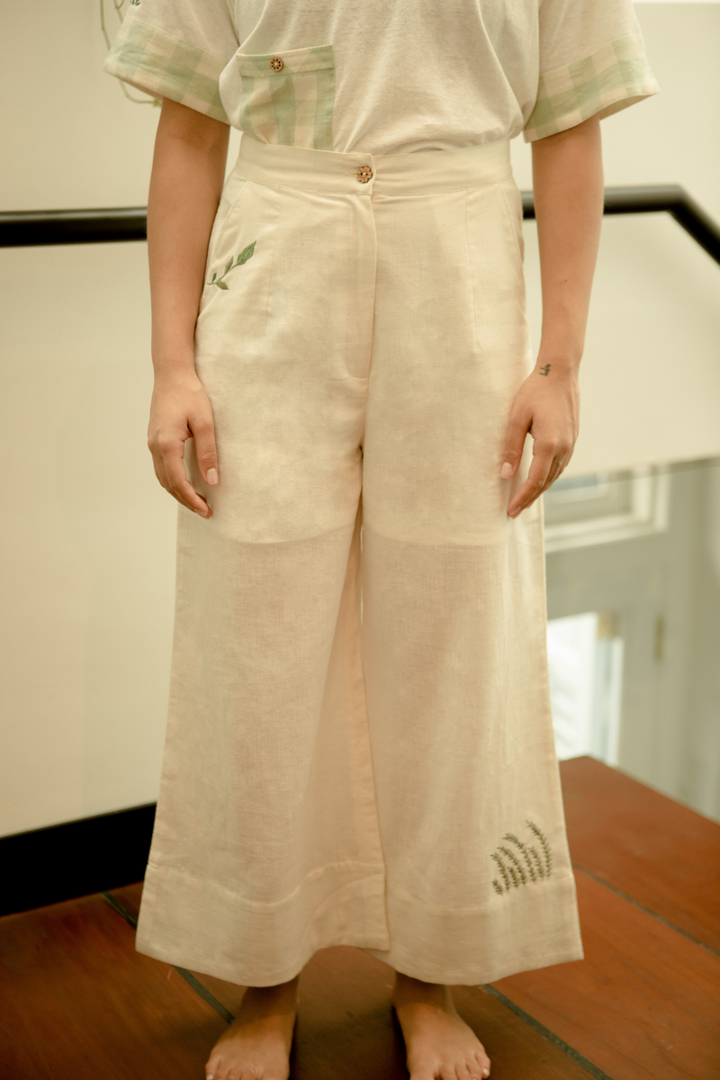 Sui | SIMPLY GREEN embroidered handwoven organic cotton casual trousers from Basic-ally Sui 2.0 Collection 2019