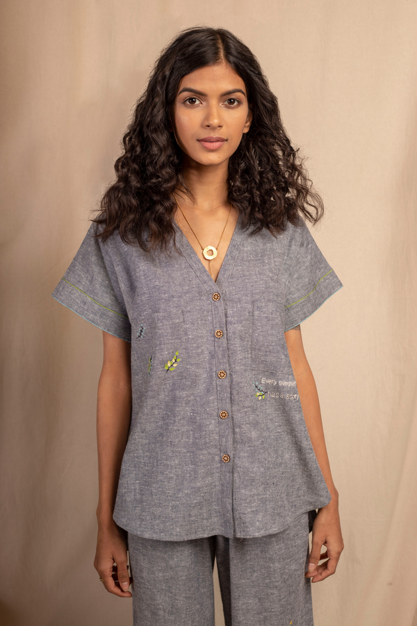 Sui | SUMMERTIME embroidered hemp denim casual shirt from Granita Summer Collection 2019