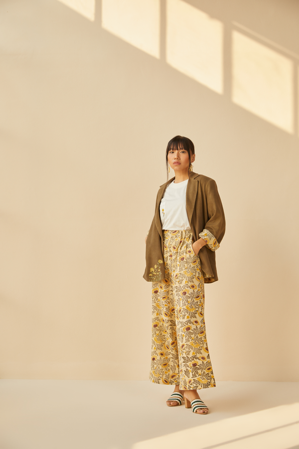 Sunflowery handwoven organic cotton trousers