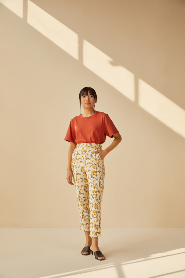 Sunshine Poppy handwoven organic cotton trousers
