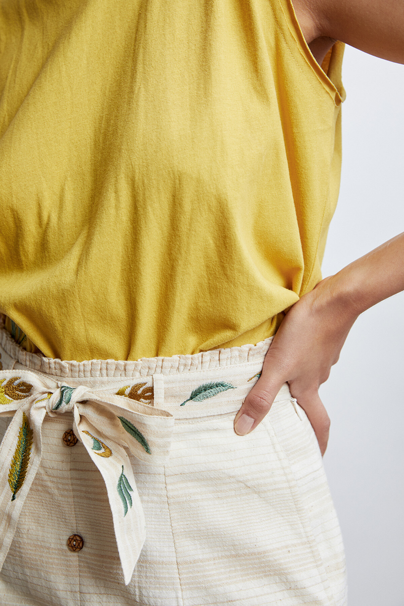 The Breezy handwoven organic cotton belted skirt