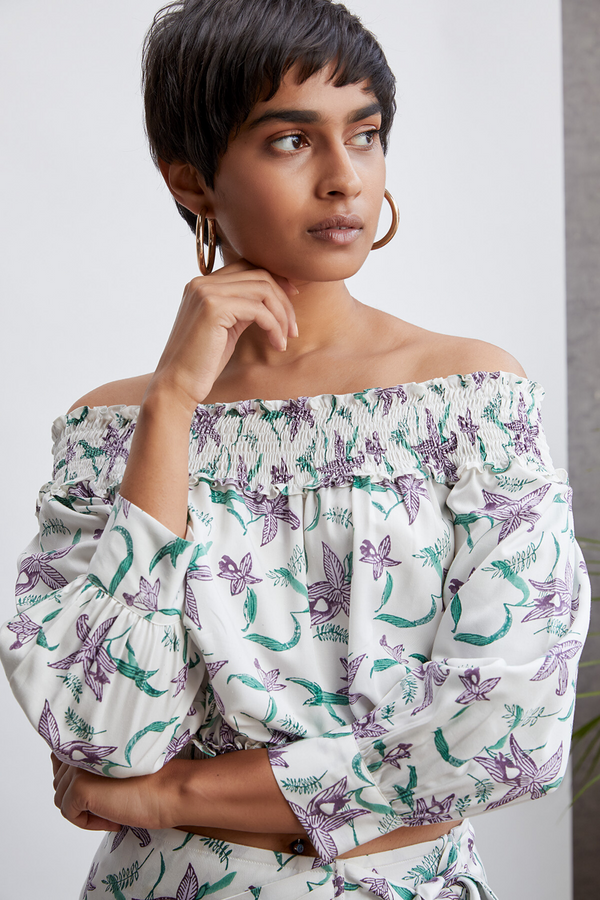 The Orchid Garden off-the-shoulder top