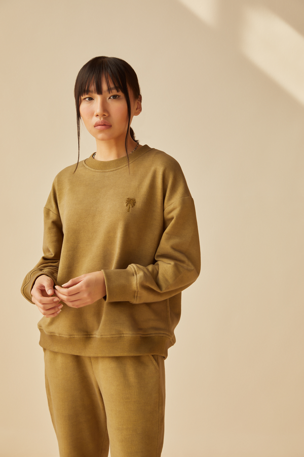 The Palmy olive organic cotton terry jumper