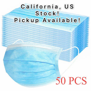 50 Pcs/set Disposable-Salon Ear loop Face-Mouth-Mask Dustproof 3-Ply-Masks Blue