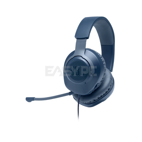 JBL Quantum 100 Wired Gaming Headset Blue with Detachable Mic