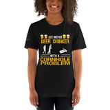 Just Another Beer Drinker with a Cornhole Problem Short-Sleeve Unisex T-Shirt with Gladiator on Sleeve