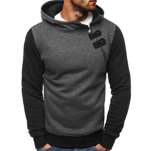 Casual Fashion Oblique Pocket Hooded Sweatshirt