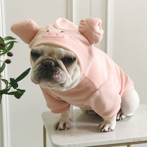 Cute Pig Pet Hooded Solid Color Sweatshirt