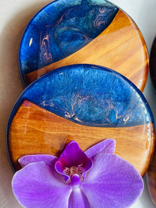 Starry Night Cedar Coaster Set of 5