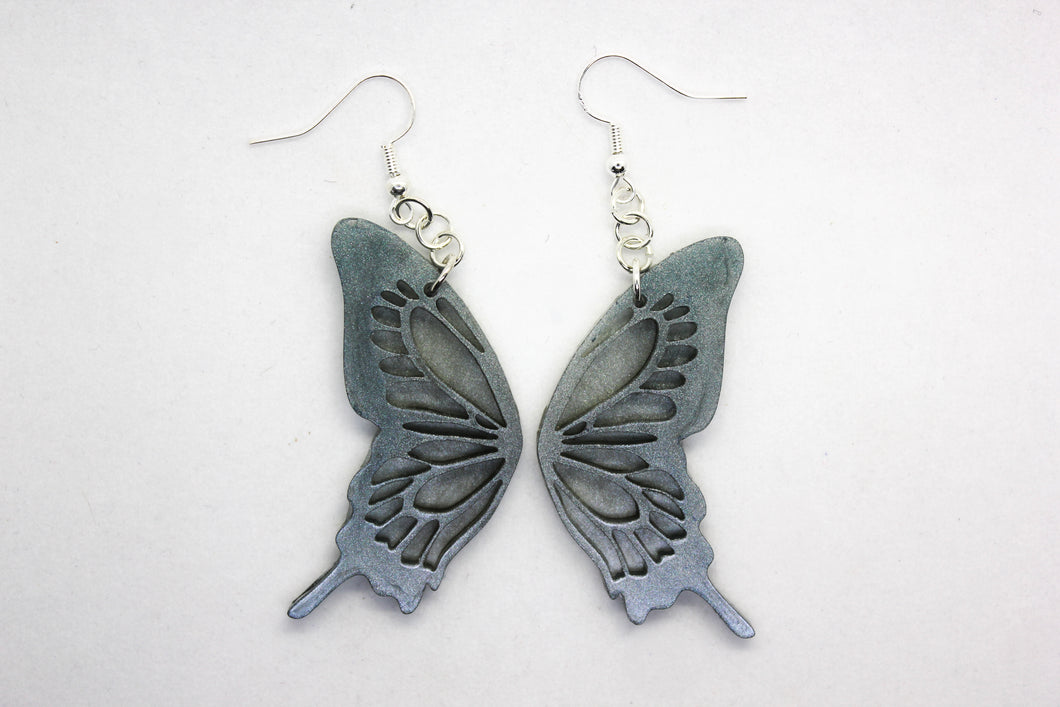 Silver Shade Butterfly Earrings