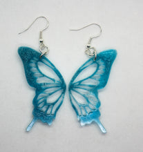Load image into Gallery viewer, Teal Butterfly Wing Earrings