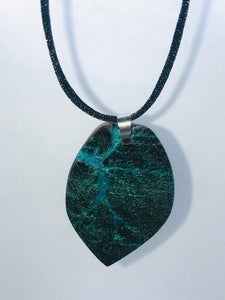 Shimmer Blue Burned Leaf Necklace