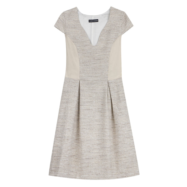 Robe beige en tweed - FRANCESCA