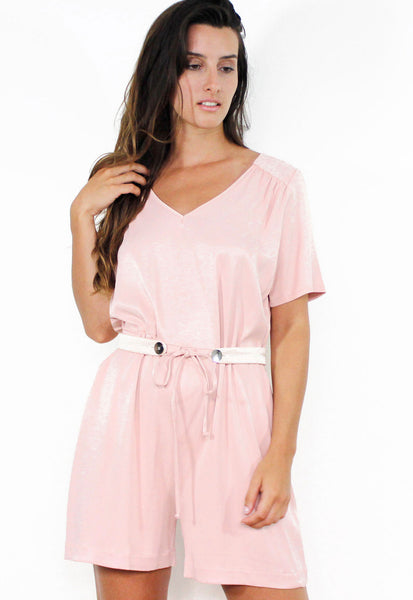 Combi-short en viscose rose satiné - HILARY