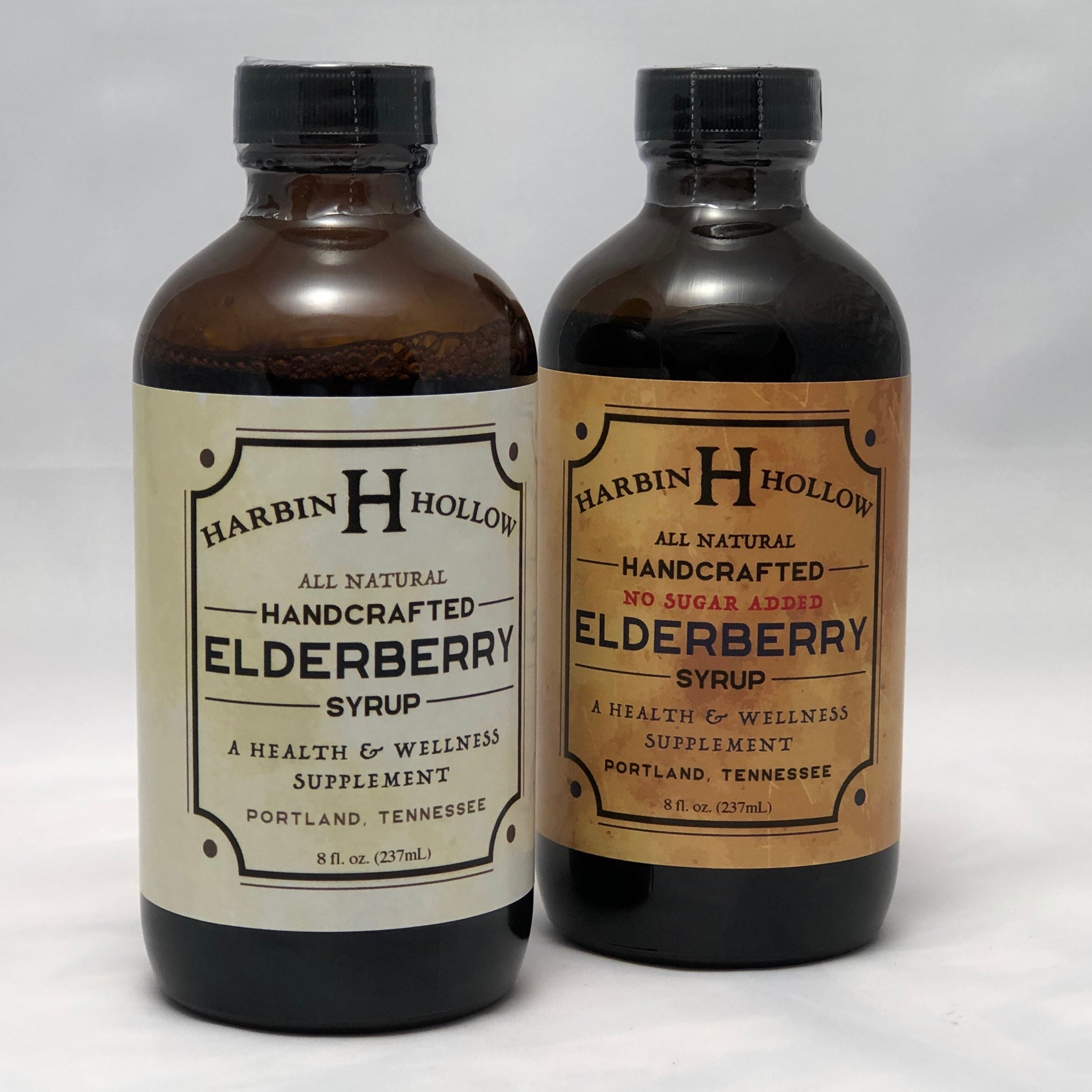 Harbin Hollow elderberry syrups- original with honey and no sugar added with stevia