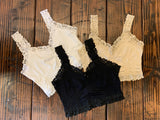 SEAMLESS BRALETTE WITH LACE IN BLACK, LATTE, WHITE, MEDITERRANEAN, PEONY, RUST AND CHIFFON.