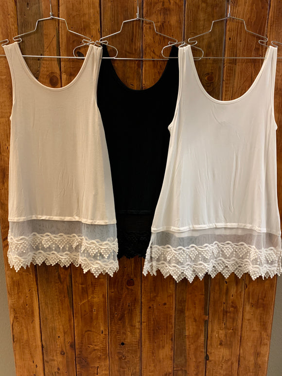 DOUBLE LACE TANK EXTENDER IN BLACK, BEIGE AND WHITE