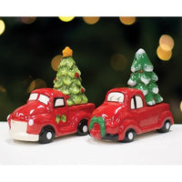 Red Truck & Christmas Tree Salt & Pepper Shakers 2 Asstd.