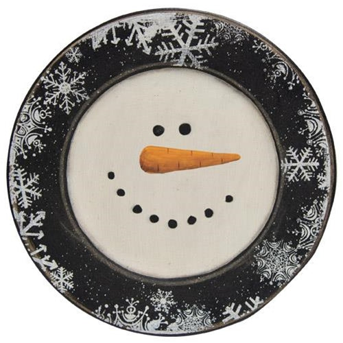 Happy Snowman Snowflake Rimmed Plate