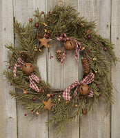 Rustic Holiday Pine Wreath 12""
