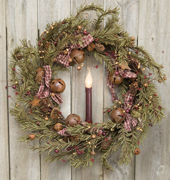 Rustic Holiday Pine Wreath 22""