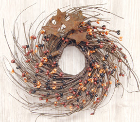 Primitive Mix Pip & Star Twig Wreath 10""