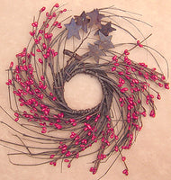 Red Pip & Star Twig Wreath 10""