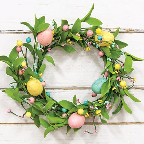 Easter Eggs & Herb Leaves Wreath 12""
