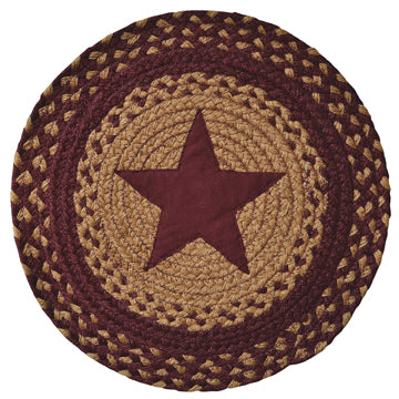 Burgundy Star Braided Mat - 15""