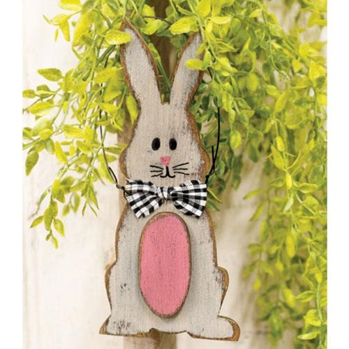 Distressed Wooden Bunny & Egg Ornament