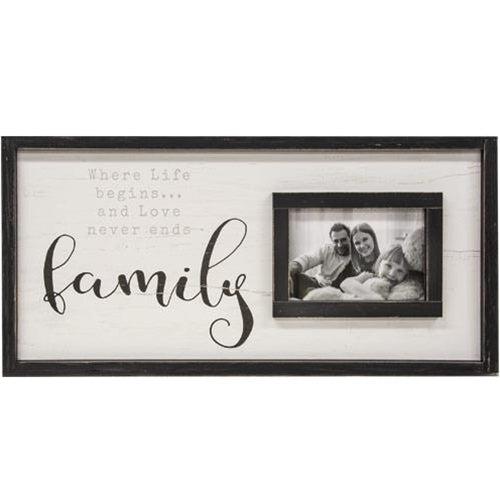 Family Framed Sign With Picture Frame 12x24