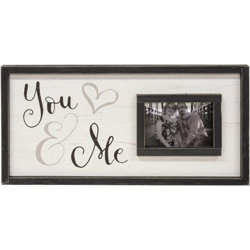 You & Me Framed Sign With Picture Frame 12x24