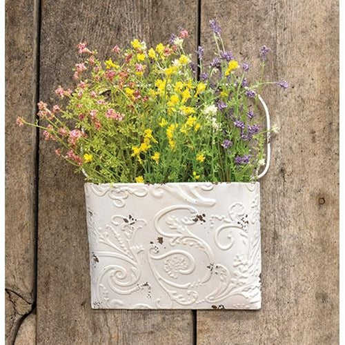 Shabby Chic Ornate Metal Wall Pocket