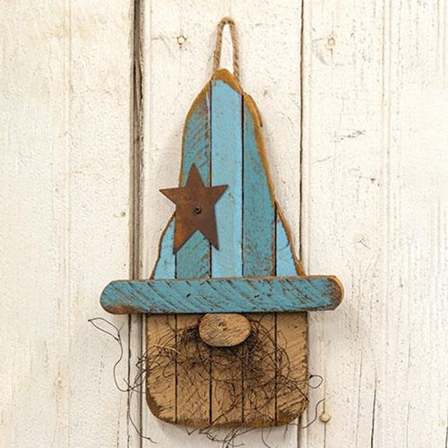 "Hanging Lath Gnome w/Blue Hat 16""H"