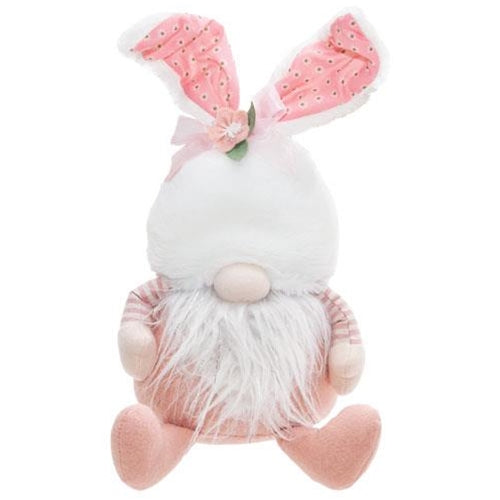 Sitting Pink Bunny Ear Gnome