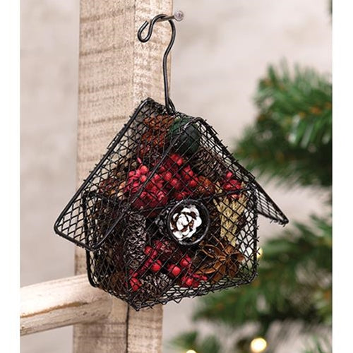 Wire Birdhouse Ornament w/Winter Trail Potpourri