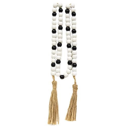 Black & White Wood Bead Garland 60""