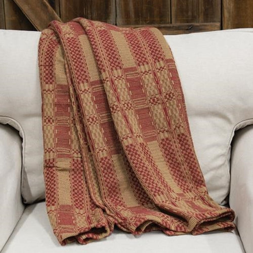 Cranberry/Tan Throw