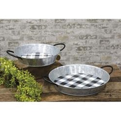 2/Set Black Buffalo Check Round Trays