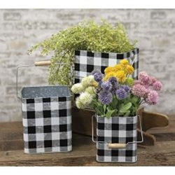 3/Set Black Buffalo Check Buckets