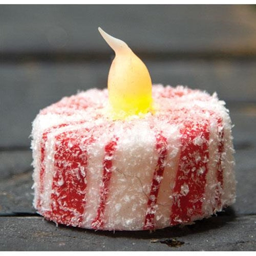 Glittered Candy Cane LED Tealight