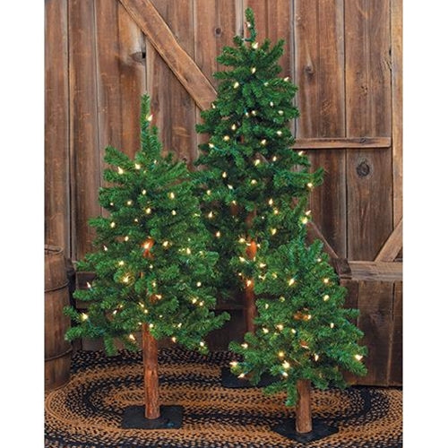 3/Set Pre-Lit Alpine Trees 2ft 3ft 4ft