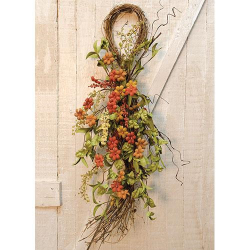 Primitive Burlap Flower Teardrop