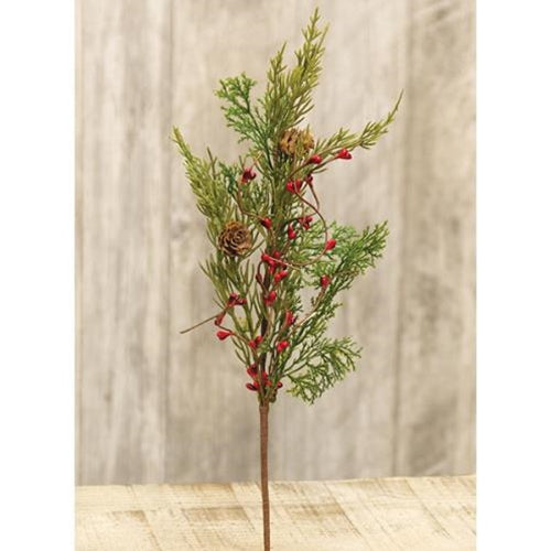 Evergreen Pine w/Red Pips Pick